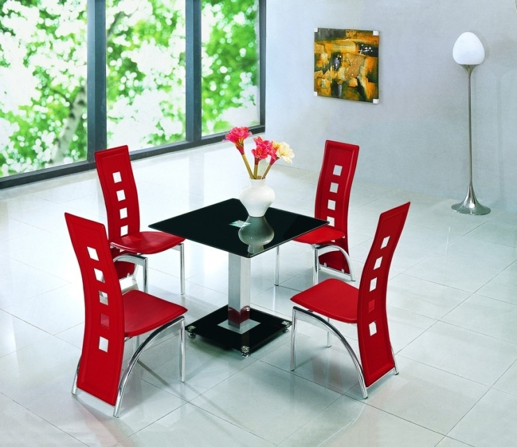 Square Black Glass Dining Tables With Famous Alba Square Black Glass Dining Table With Alison Chairs (View 18 of 20)
