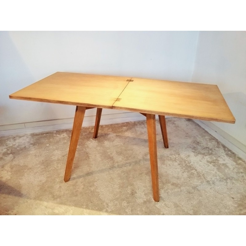 Square Extendable Dining Table In Solid Oak – 1950S – Design Market Within Well Liked Square Extendable Dining Tables (View 7 of 20)
