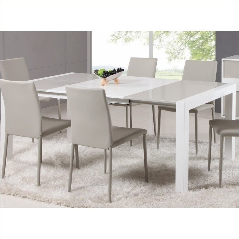 Square Extendable Dining Tables And Chairs Regarding Trendy Chintaly Gina Lacquer Parson Extendable Dining Table In Whitegrey (View 3 of 20)
