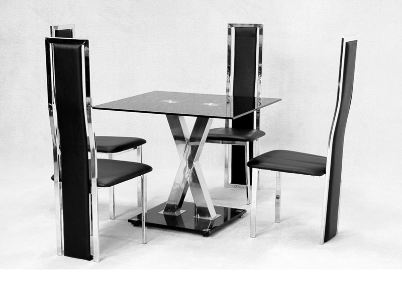Square Glass Dining Table X Chrome And 4 Faux Chairs – Homegenies For Popular Square Black Glass Dining Tables (Gallery 4 of 20)
