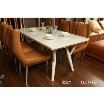 St 1304, China Tempered Glass In Cream Color And Mdf Dining Table With Regard To Well Known High Gloss Cream Dining Tables (Gallery 17 of 20)