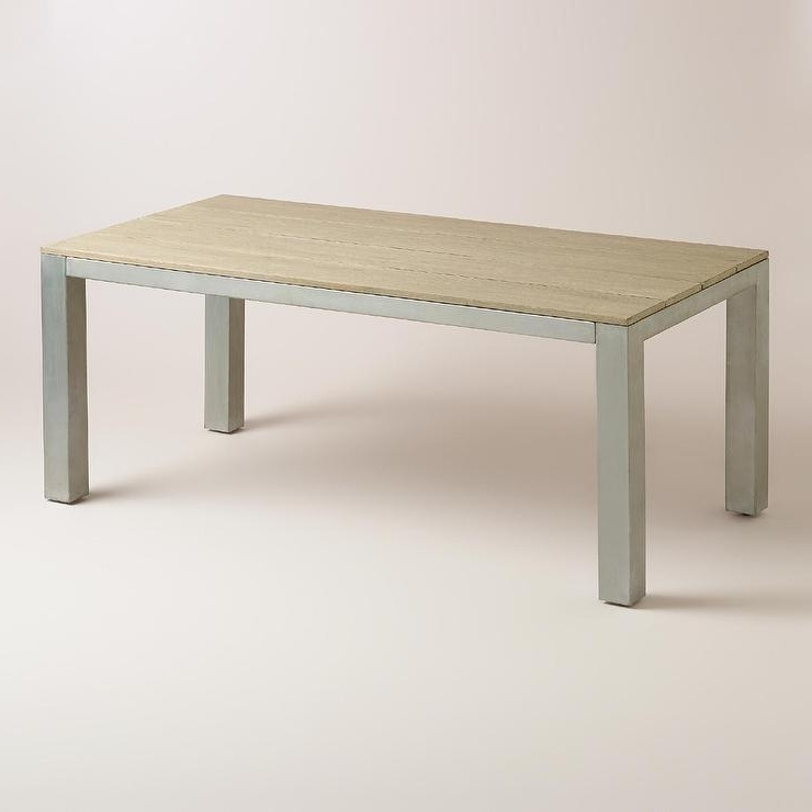 Steel Top Wood Legs Rectangle Dining Table Regarding Preferred Dining Tables With Metal Legs Wood Top (View 18 of 20)