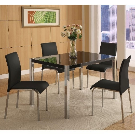 Stefan Hi Gloss Black Dining Table And 4 Chairs 4667 With Most Recently Released Black Gloss Dining Room Furniture (View 18 of 20)