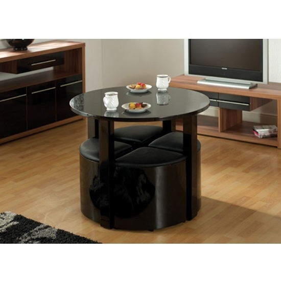 Stefan Stowaway Black Gloss Round Dining Table And 4 Black Throughout Popular Stowaway Dining Tables And Chairs (View 12 of 20)