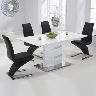 Stenson High Gloss White Dining Table With 6 Harvey Black Chairs Pertaining To Famous White Dining Tables With 6 Chairs (View 7 of 20)