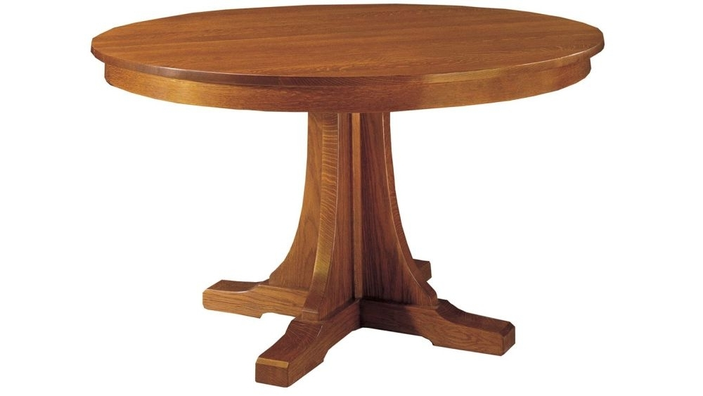 Stickley Craftsman Round Pedestal Dining Table With Leaves Throughout Best And Newest Craftsman Round Dining Tables (View 18 of 20)