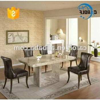 Stone Dining Tables Pertaining To Well Known Foshan Luxury Marble Furniture Stone Dining Table Set With 8 Chairs (View 11 of 20)