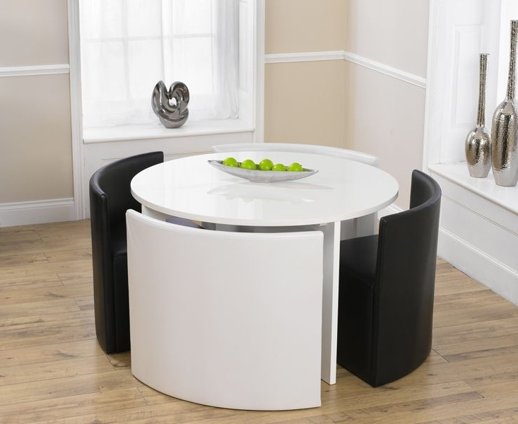 Stowaway Dining Tables And Chairs Inside Well Known Buy The Oslo Black High Gloss Round Stowaway Dining Table With Black (View 16 of 20)