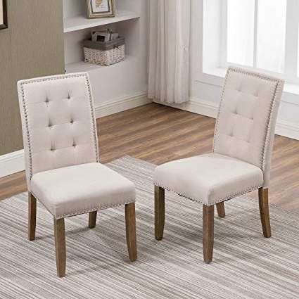 Stylish Dining Chairs With Regard To Well Known Amazon: Merax Set Of 2 Stylish Tufted Upholstered Fabric Dining (View 17 of 20)
