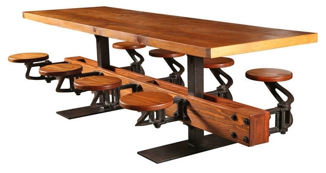 Swing Out Seat Table With Eight Cast Iron Attached Seats And Oak Pertaining To Most Recently Released Dining Tables With Attached Stools (View 16 of 20)