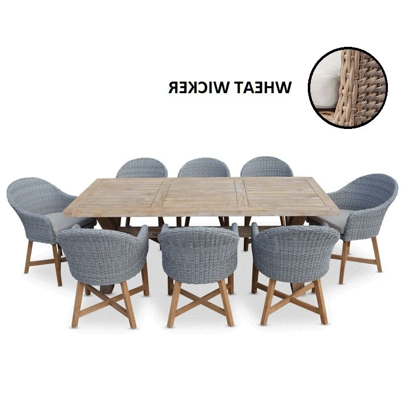 Tahitian Outdoor Dining Set W 8 Wheat Wicker Chairs (View 9 of 20)
