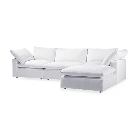 "Tahoe 135"" Slipcovered Four Piece Sectional In Empire Optic (View 3 of 15)"