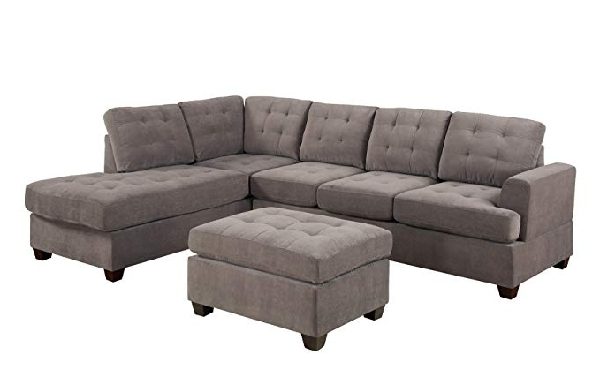 Taren Reversible Sofa/chaise Sleeper Sectionals With Storage Ottoman Inside Fashionable Amazon: Bobkona Austin 3 Piece Reversible Sectional With Ottoman (View 4 of 15)
