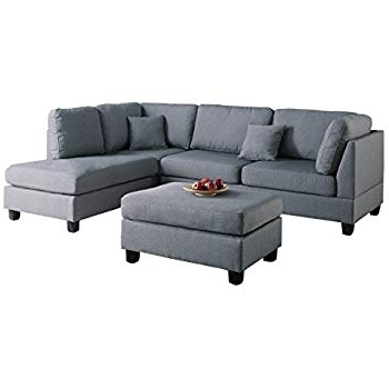 Taren Reversible Sofa/chaise Sleeper Sectionals With Storage Ottoman Throughout Most Popular Amazon: Bobkona Austin 3 Piece Reversible Sectional With Ottoman (View 12 of 15)