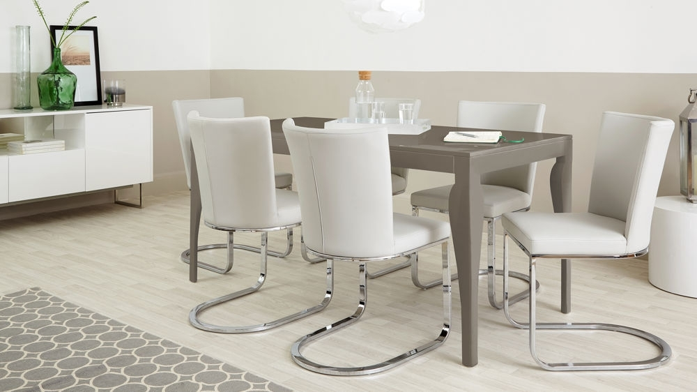 Taupe Grey Gloss In 2017 Dining Tables For Six (View 7 of 20)