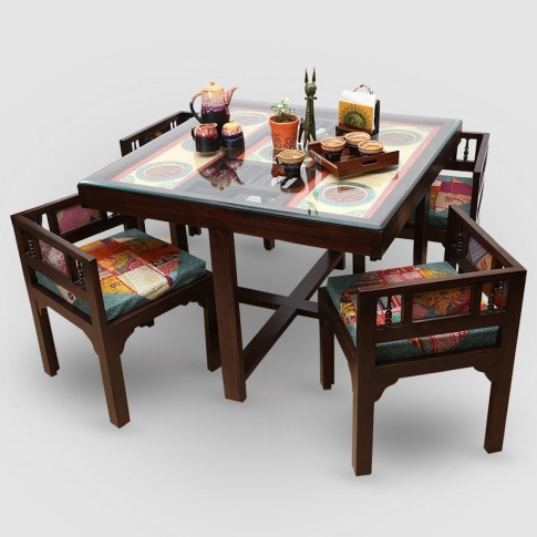 "Teak Wood ""modern"" Sleek 4 Seater Square Dining Table With Warli Intended For Most Popular 4 Seat Dining Tables (View 19 of 20)"