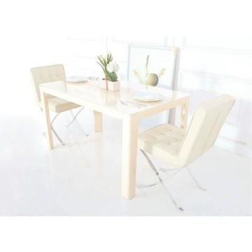 Tempered Glass In Cream Color And Mdf Dining Table With High Gloss Pertaining To Most Popular Cream High Gloss Dining Tables (View 13 of 20)