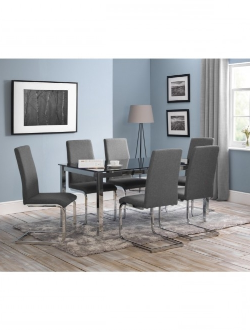 Tempo Glass Dining Table And 6 Dining Chairs Tem (View 16 of 20)