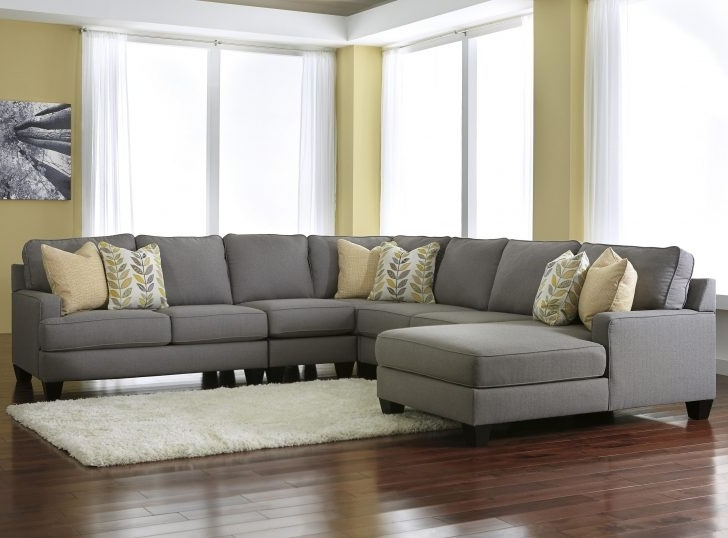 Tenny Dark Grey 2 Piece Left Facing Chaise Sectionals With 2 Headrest Inside Popular 19 Low Back Grey Sectional Sofa With Attached Seat Cushions (View 8 of 15)