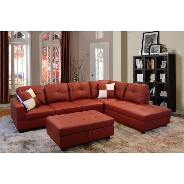 Tenny Dark Grey 2 Piece Right Facing Chaise Sectionals With 2 Headrest Regarding Most Recently Released Shop Delma 3 Piece Red Faux Leather Furniture Set – Free Shipping (View 10 of 15)