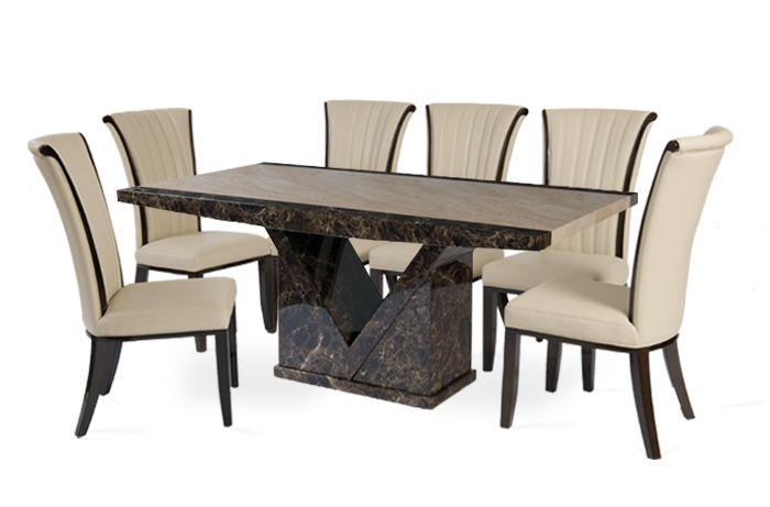 Tenore 180Cm Marble Effect Dining Table With 8 Alpine Cream Chairs With Widely Used Marble Dining Chairs (View 17 of 20)