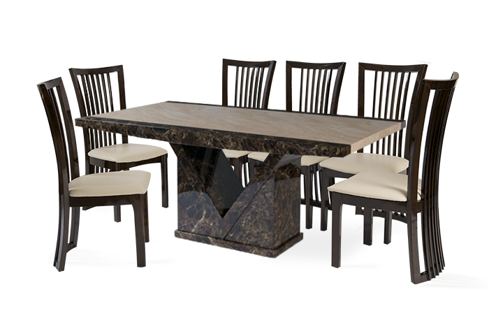 Tenore 180Cm Marble Effect Dining Table With 8 Reni Chairs (View 18 of 20)