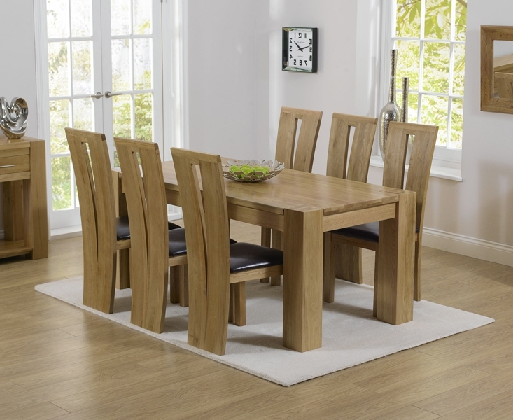 Thames 180Cm Oak Dining Table With Montreal Chairs With Most Current Solid Oak Dining Tables And 6 Chairs (View 15 of 20)