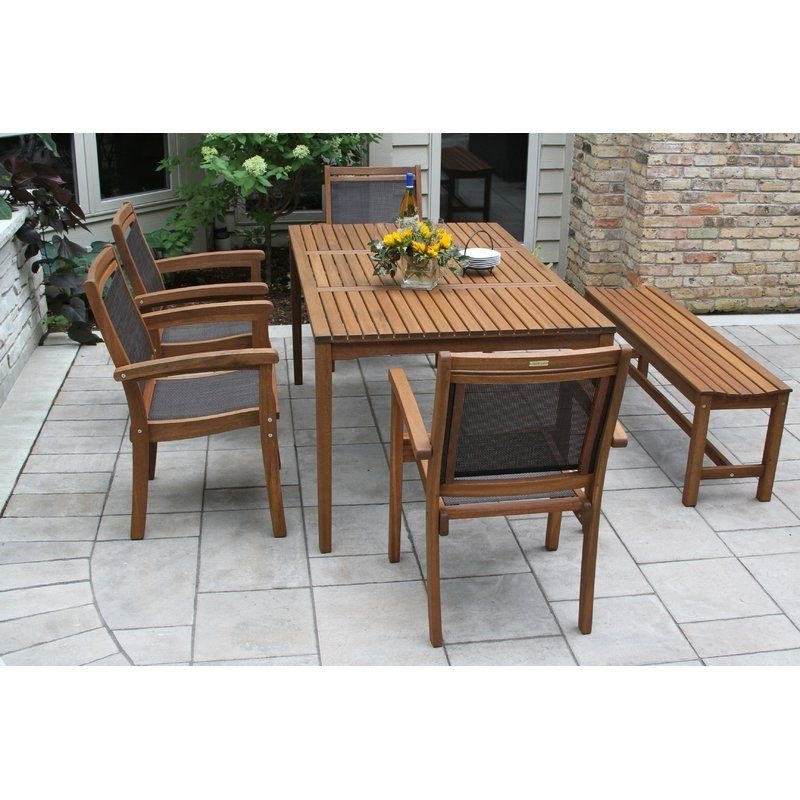 The Bay Isle Home 6 Pieces Brazilian Eucalyptus And Sling Dining Set Regarding Latest Jaxon 6 Piece Rectangle Dining Sets With Bench & Wood Chairs (View 16 of 20)