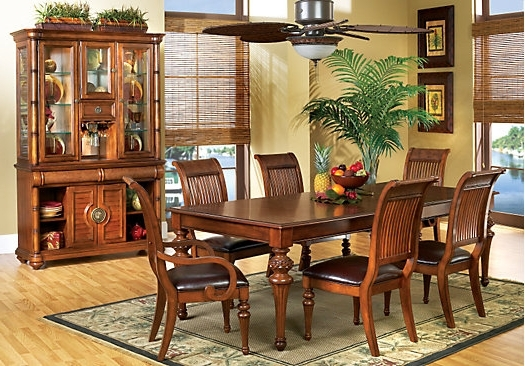 The Cindy Crawford Key West Dark Pine 5Pc Rectangle Dining Room Inside Well Liked Crawford Rectangle Dining Tables (View 12 of 20)
