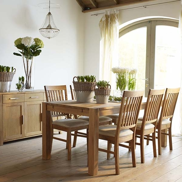 The Hannover Oak Dining Room Table, 4 Fabric Chairs And Sideboard Intended For Trendy Oak Dining Sets (View 17 of 20)