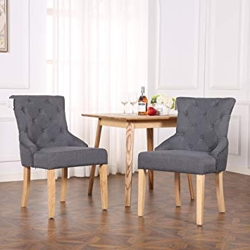 The Home Garden Store Set Of 2 Premium Linen Fabric Dining Chairs For Current Button Back Dining Chairs (View 5 of 20)