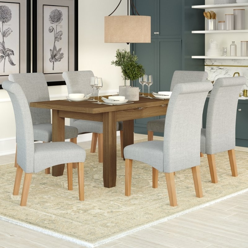 Three Posts Berwick Extendable Dining Table And 6 Chairs & Reviews Intended For Current Extendable Dining Table And 6 Chairs (View 17 of 20)