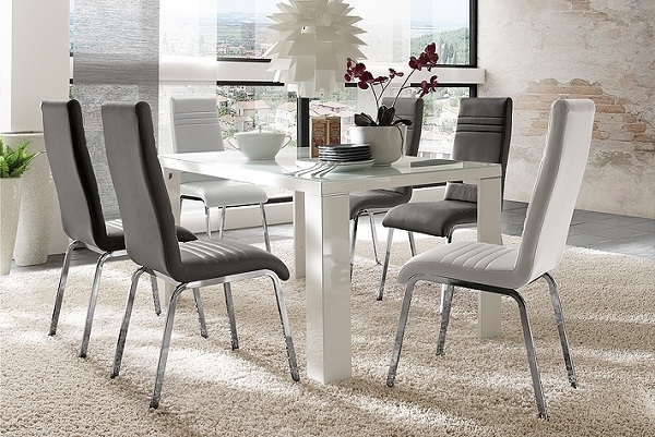 Tizio Glass 140Cm Dining Table In White Gloss With 6 Dora Regarding Well Known White Gloss Dining Tables 140Cm (View 15 of 20)