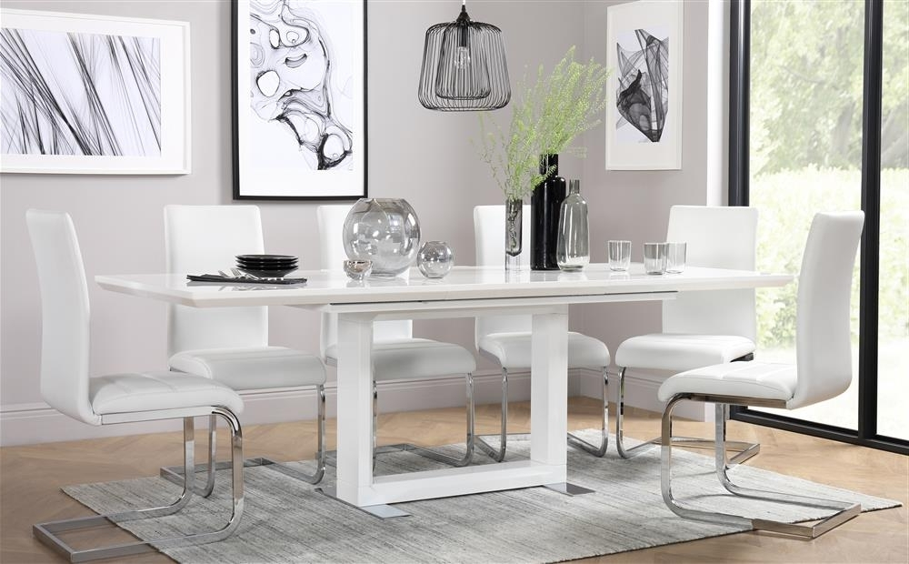 Tokyo White High Gloss Extending Dining Table And 4 Chairs Set Pertaining To Favorite Extendable Dining Tables And 4 Chairs (View 17 of 20)