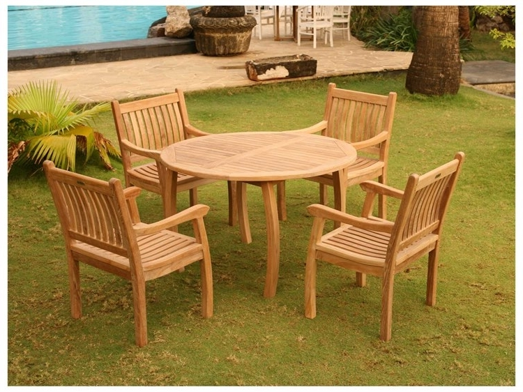 Tortuga Outdoor Jakarta Teak 5Pc Dining Set (Teak 48 Dining Table With Regard To Most Recent Outdoor Tortuga Dining Tables (View 9 of 20)