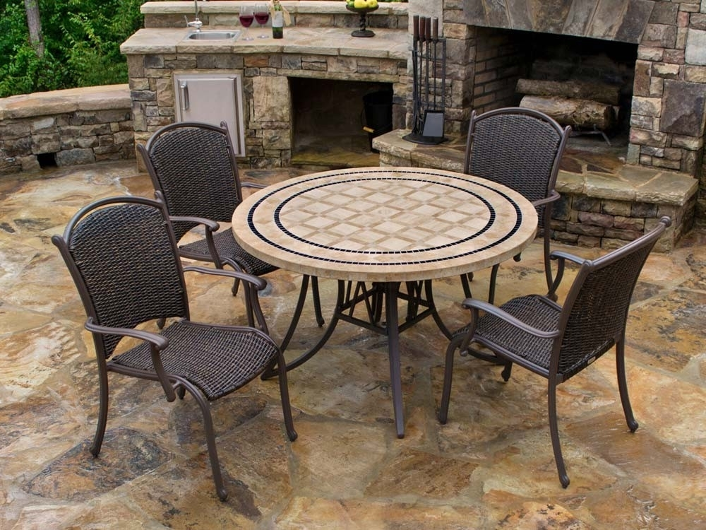Tortuga Outdoor Marquesas 5 Piece Wicker Dining Set – Wicker Pertaining To Best And Newest Outdoor Tortuga Dining Tables (View 8 of 20)