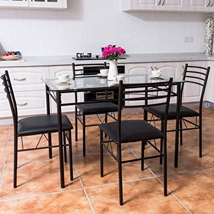 Trendy Amazon: Tangkula Dining Table Set 5 Piece Home Kitchen Dining With Dining Room Glass Tables Sets (View 18 of 20)