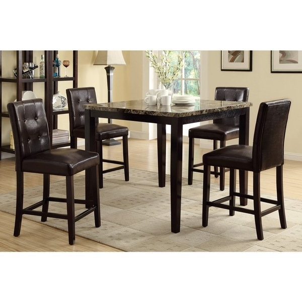 Trendy Caden 7 Piece Dining Sets With Upholstered Side Chair With Shop Bayfield 5 Piece Counter Height Dining Set – Free Shipping (View 19 of 20)
