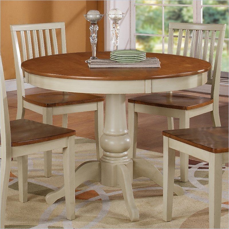 Trendy Candice Ii Round Dining Tables Pertaining To Steve Silver Company Candice Round Dining Table In Oak And Off White (View 5 of 20)