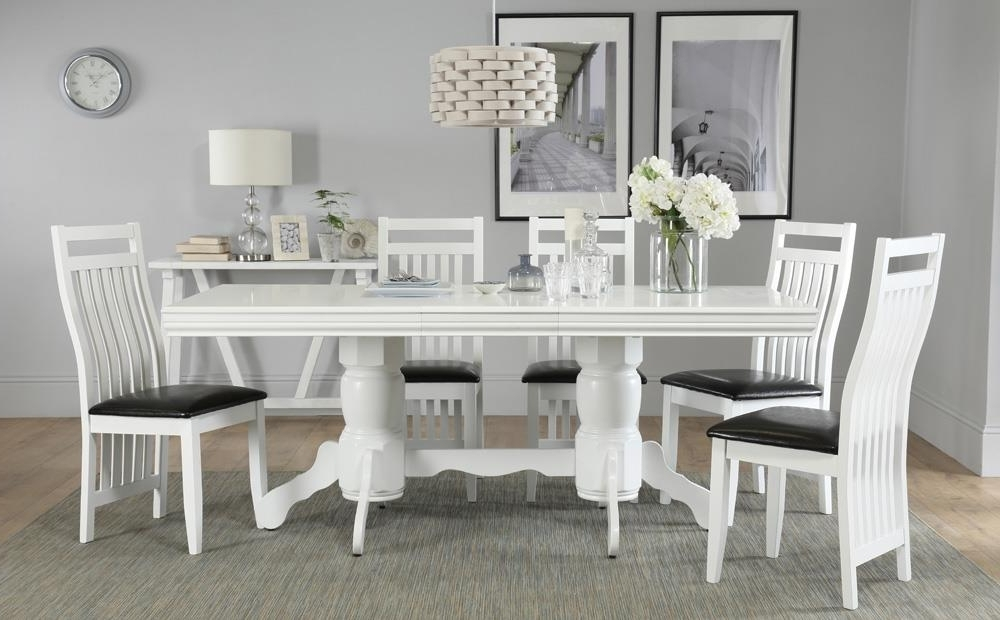 Trendy Chatsworth White Extending Dining Table With 4 Java Chairs Only Inside Chatsworth Dining Tables (View 19 of 20)