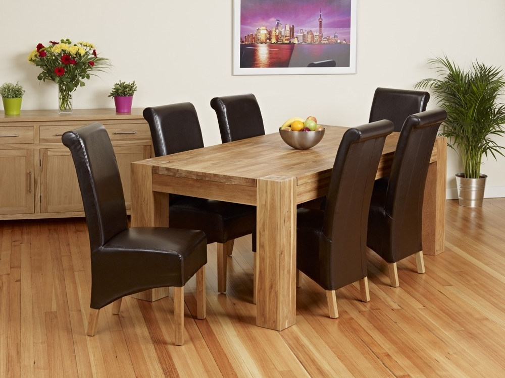 Trendy Chunky Solid Oak Dining Tables And 6 Chairs Throughout Oak Dining Table And Bench Set – Castrophotos (View 8 of 20)
