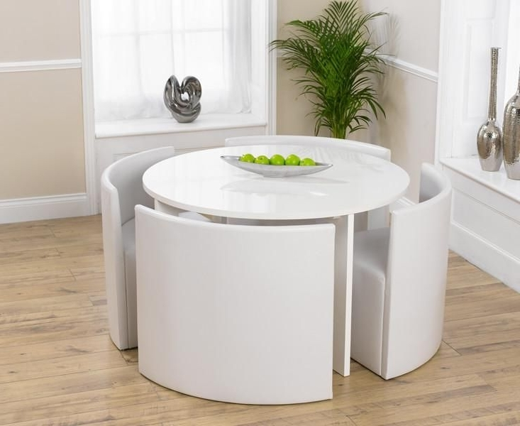Trendy Circular Dining Tables For 4 Inside Sophia Round High Gloss White Dining Table 4 Chairs (View 16 of 20)