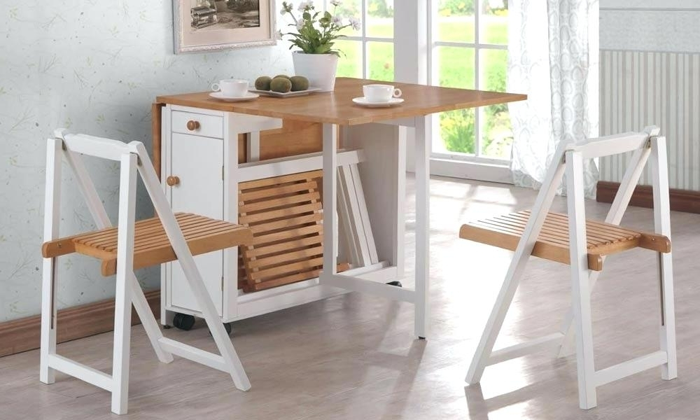 Trendy Collapsible Dining Table And Chairs Furniture For Small Spaces Within Dining Tables With Fold Away Chairs (View 18 of 20)