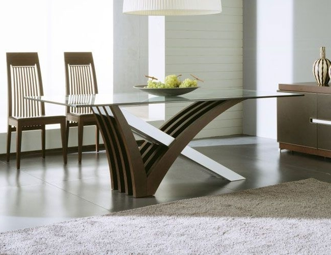 Trendy Contemporary Dining Tables With Glass Top Modern Dining Tables For Trendy Homes (View 7 of 20)