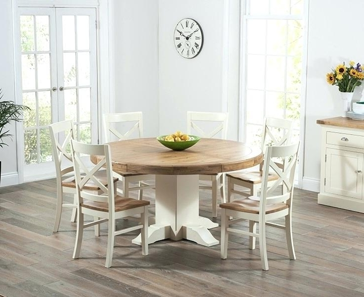 Trendy Cream Dining Tables And Chairs Inside Oak Pedestal Dining Table And Chairs Solid Oak Round Pedestal Dining (View 19 of 20)