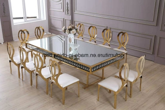 Trendy Crystal Dining Tables For China Wedding Decoration Golden Frame Mirror Glass Top 12 Seater (View 17 of 20)
