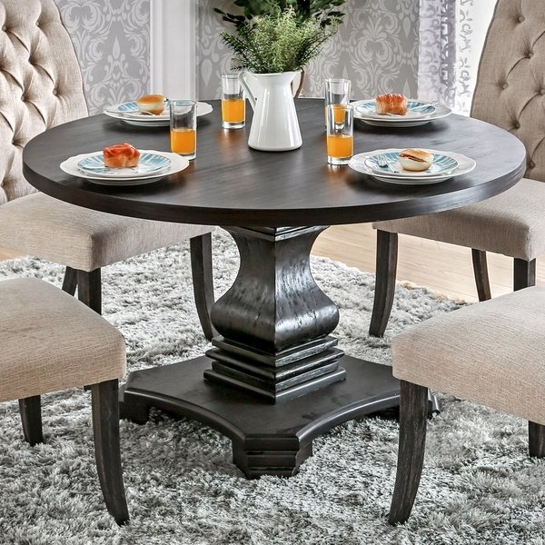 Trendy Dark Round Dining Tables For Shop Furniture Of America Lucena Antique Black Wood Traditional (View 16 of 20)