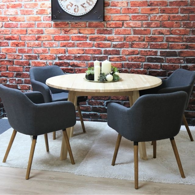 Trendy Dawson Dining Tables For Tilbury 4 Person Untreated Solid Oak Round Dining Table + 4 Dawson (View 13 of 20)