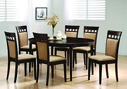 Trendy Dining Table Chair Sets Within Amazon – Oval Dining Room Wood Table Chair Set Kitchen Chairs (View 1 of 20)