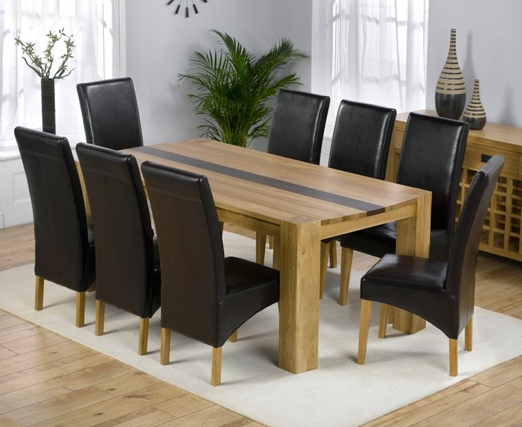 Trendy Dining Tables With 8 Chairs Pertaining To Beatrice Oak Dining Table With Walnut Strip And 8 Leather (View 18 of 20)